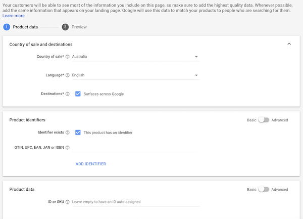 Add individual products in Google Merchant Centre