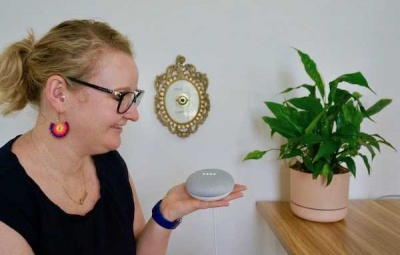Casey talking to Google Home Mini
