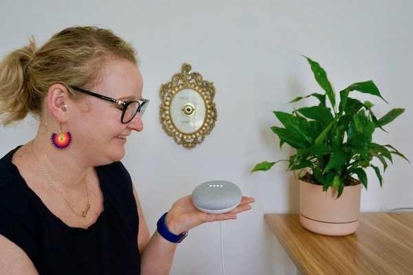 Casey talking to Google Home Mini