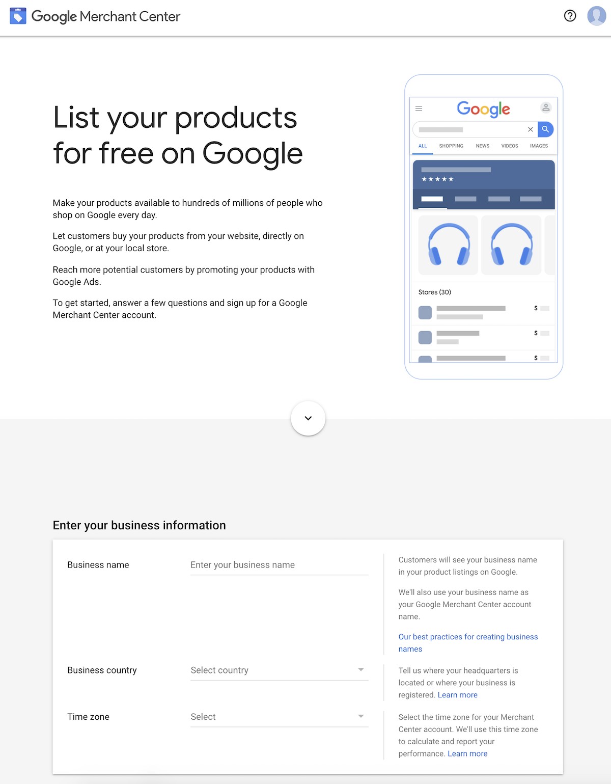 List your products for free on Google - Merchant Centre Sign up