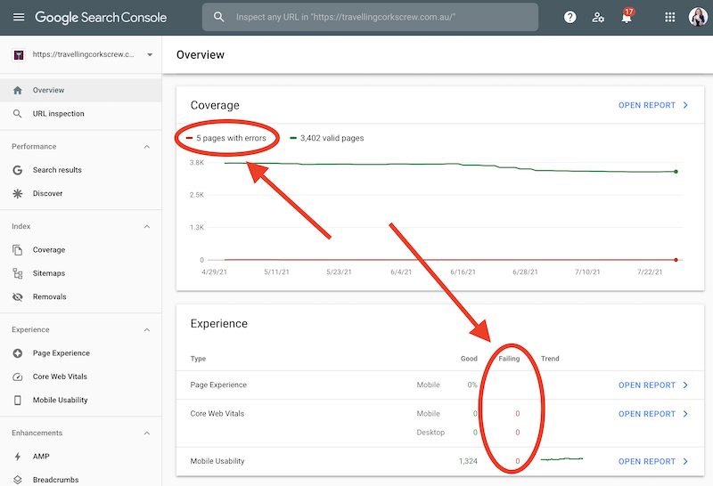 Overview Tab - Google Search Console